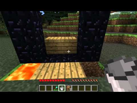 Minecraft - How to make Nether Portal without flint and steel - tutorial
