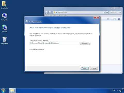 Windows 7 Create a Shortcut in a Folder