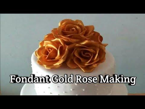Making beautiful fondant gold rose.