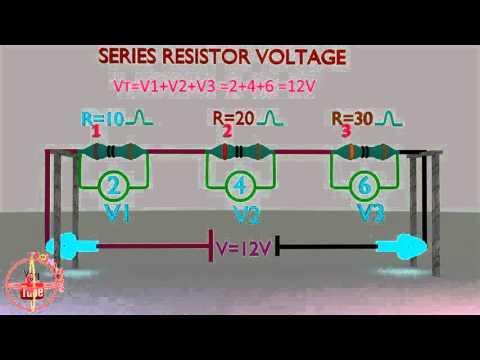 series resistor voltage,amps,resistance calculation or formula animation