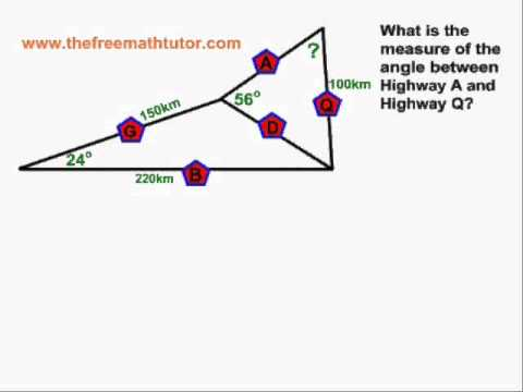 Multiple-Step Sine Law and Cosine Law problems - Example 1
