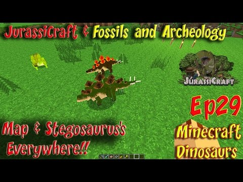 Jurassicraft & Fossils and Archeology Mod Jurassic World Ep29 Stegosaurus's Everywhere!