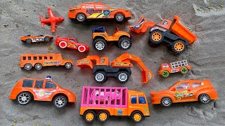 Finding orange toy vehicles in the sand - Police car, Bulldozer, Excavator, Sports Car and others