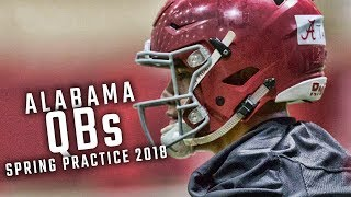 Watch Tua Tagovailoa, Jalen Hurts, and the Alabama quarterbacks during Day 1 of spring practice