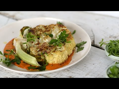Cauliflower Steaks with Romesco Sauce- Healthy Appetite with Shira Bocar