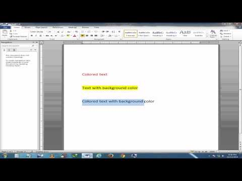 How to change font color and its background color in MS Word 2010