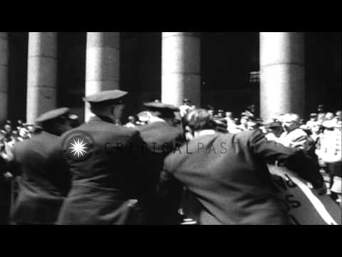 Fidel Castro arrives at New York's Penn Station and is greeted by cheering Spanis...HD Stock Footage
