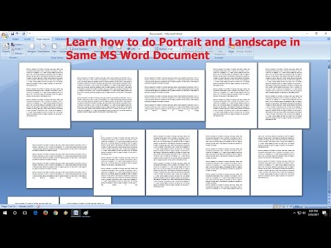 Hindi-How to Do Portrait and Landscape in Same MS Word Doc