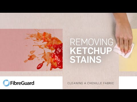 Removing ketchup stains from a chenille fabric