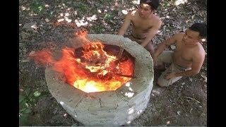 Primitive Technology: Large lime kiln, Survival Skills Wilderness