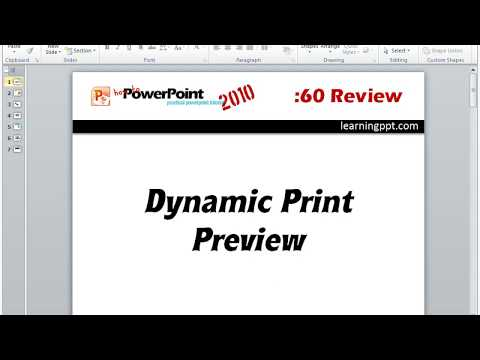 Review of the print preview in PowerPoint