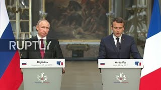 live macron and putin hold joint press conference in versailles