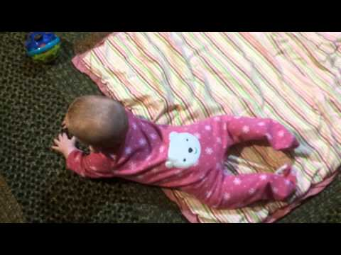 5 month old baby learning to crawl