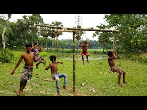 Beautiful Hanging Swing Toy For Village Kids - Primitive Bamboo Rocking Cradle Making By Boys