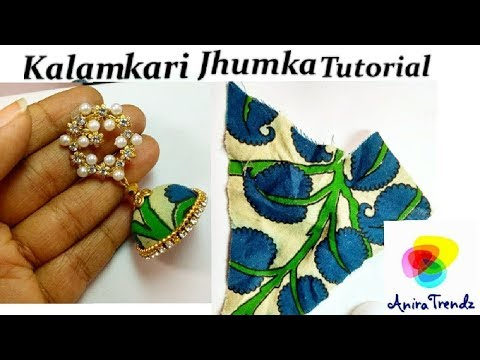 How to make Kalamkari Jhumka in Tamil/ With Detail Steps for neat Finishing