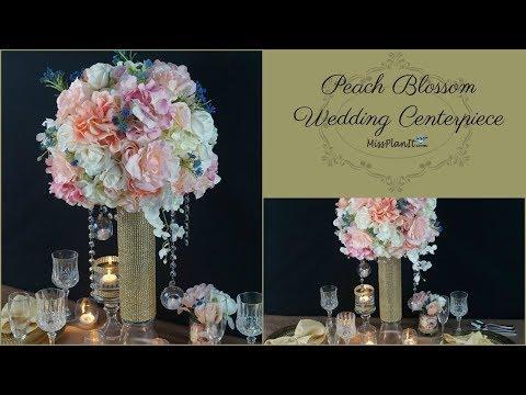 DIY Tall Peach Blossom Wedding Centerpiece | DIY  Wedding Centerpieces |  DIY Tutorial