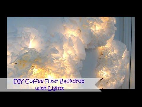 DIY Coffee Filter Backdrop with Lights | SugarStil