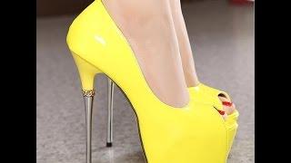 751d075e7 اشيك احذية كعب عالي اللون اصفر جديدة 2017 - Most Stylish High Heel Shoes  yellow color new