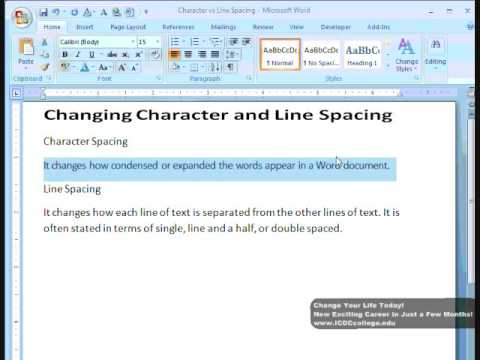 Change character and line spacing in Word 2007 by ICDC College