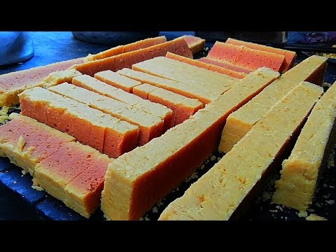 Mysore Pak Recipe 2018 - How To Make Mysore Pak Sweet In Sweets Shop - Indian Sweets Making Video