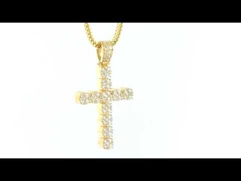 14K Real Solid Gold Genuine Diamonds Cross Pendant 10K Gold Franco Chain Item no. 5616
