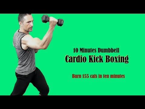 Fastest way to burn calories at home in just ten minutes!  Dumbbell Cardio Kick Boxing!