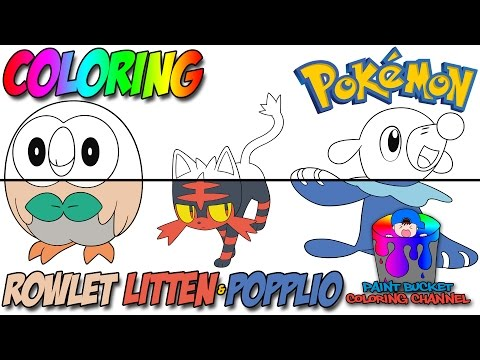 Rowlet Litten And Popplio Coloring Pages