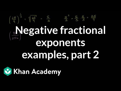 Negative fractional exponent examples 2   Algebra I   Khan Academy