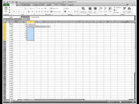 Using the Frequency function in Excel