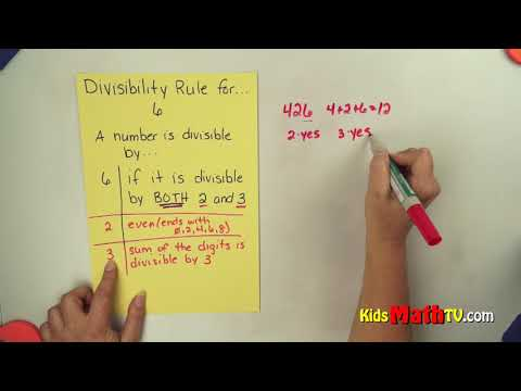 Divisibility rule for numbers by 6, math video lesson