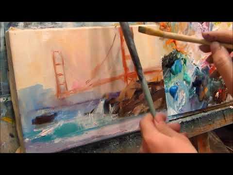 Oil Painting. Golden Gate Bridge. Part 1