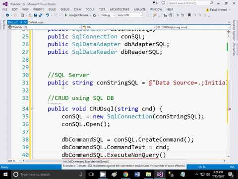 1 Data Access Layer Class in Asp DotNet  for Data Base Connectivity