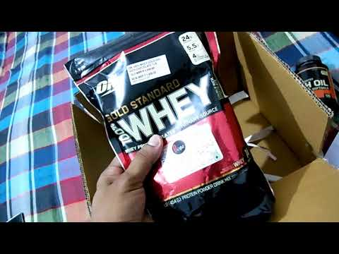 Unboxing Optimum Nutrition (ON) 100% Whey Gold Standard and Fish Oil Softgels from Nutrabay