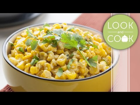 Spiced Corn In Yogurt Sauce Recipe -  Look and Cook step by step recipes | How to cook