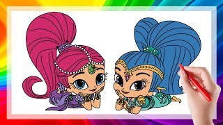 Shimmer and Shine Coloring Pages For Kids How to Draw Learn Colors with Shimmer and Shine Easy Book