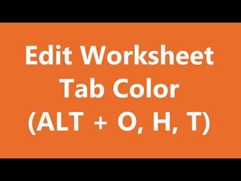 Excel Shortcuts - Edit Worksheet Tab Color
