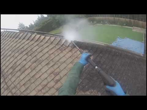 Roof Cleaning in Harpenden, Hertfordshire UK - Removing moss from concrete roof tiles