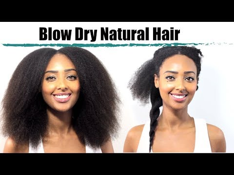 How I Blow Dry & Stretch My Natural Hair to Retain Moisture   Tension Method & Comb Method