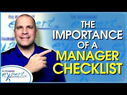 Restaurant Management Tip - How a Manager Checklist Makes Your Restaurant Better #restaurantsystems