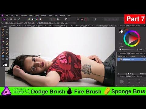 How to Use Affinity Photo Dodge brush , Burn brush and sponge brush tool || Beginner Guide 7