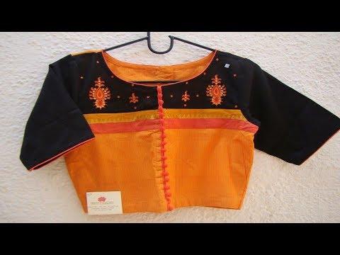 High Fashion Button Saree Blouse Designs
