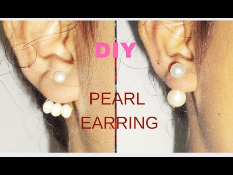 How To Make Double Pearl Earring/Jacket Pearl Earring At Home
