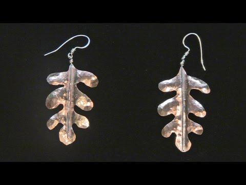 Sweat Soldered Planished Copper Leaf Earrings