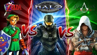 Minecraft ZELDA VS ASSASSINS CREED VS HALO MASTER CHIEF - WHO IS THE SRONGEST?? - Donut the Dog
