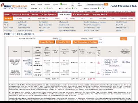 How to Switch Mutual Funds ICICI Direct Online Stocks Account