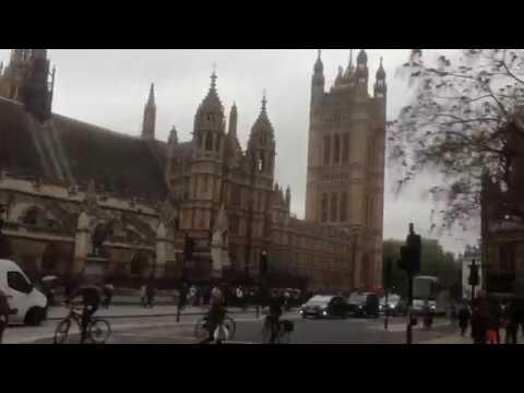 Morning Rush Hour Drive Past Central London Landmarks.