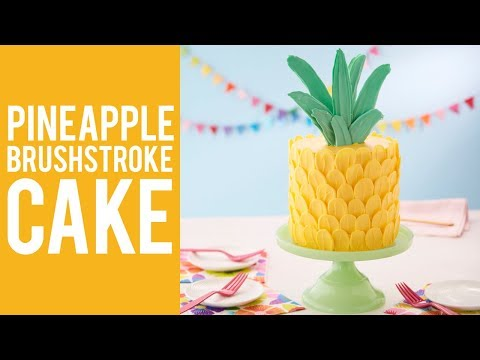How to Make a Pineapple Brush Stroke Cake