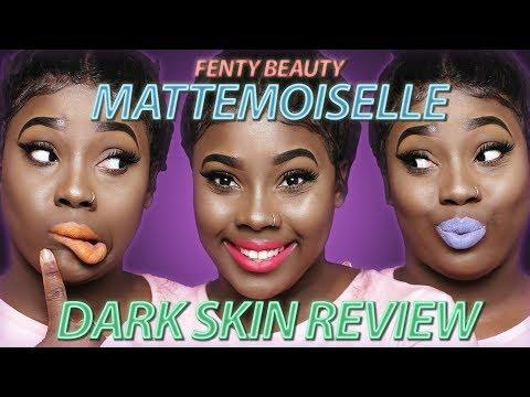 Fenty Beauty Matte Lipstick on DARK SKIN + Mattemoiselle SWATCHES (All 14 Colors)