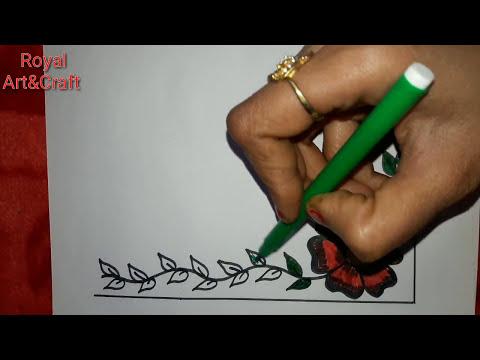 How to make Corner Art design    Art tutorial For Project Work !! Border Design For Greeting Card#3