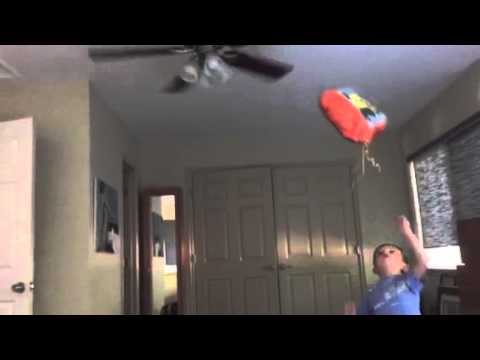 The Minion Balloon toss into the fan